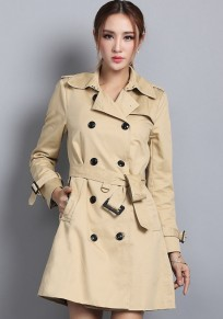 Khaki Plain Belt Epaulet Trench Coat