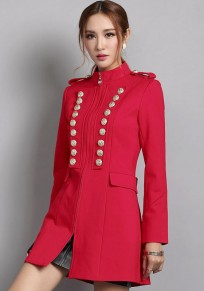 Red Plain Epaulet Double Breasted Trench Coat