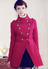 Rose-Carmine Plain Double Breasted Army Chic Wool Coat