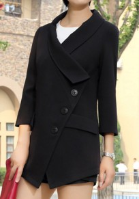 Black Plain Buttons Turndown Collar Fashion Coat