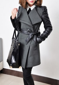 Grey Plain Belt Pockets Band Collar Long Sleeve Trench Coat