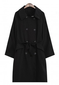 Black Plain Buttons Belt Turndown Collar Long Sleeve Double Breasted Casual Trench Coat