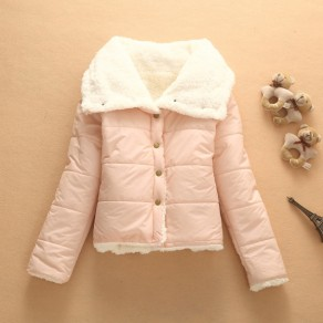 Pink Plain Buttons Pockets Turndown Collar Single Breasted Padded Coat