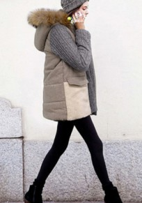 Grey Patchwork Pockets Hooded Double Breasted Suede Coat