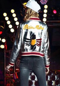 Silver High Quality New Autumn Winter Single Breasted Baseball Jacket Women's Bling Silver PU Leather Zipper Jacket Silver Bomber Letter Bird Embroidery Outwear