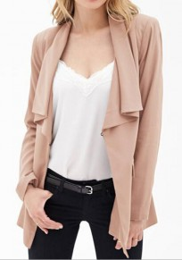 Apricot Plain Pockets Pleated Irregular Turndown Collar No Button Fashion Coat