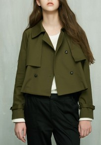 Green Plain Turndown Collar Double Breasted Fashion Coat