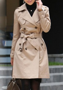 Khaki Plain Pockets Belt Tailored Collar Double Breasted Fashion Coat