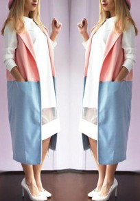 Pink Blue Patchwork Pockets Turndown Collar Sleeveless Wool Coat
