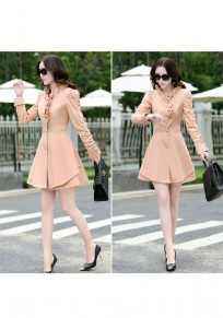 Pink Plain Ruffle Single Breasted Pleated Peplum Slim Elegant Trench Coat