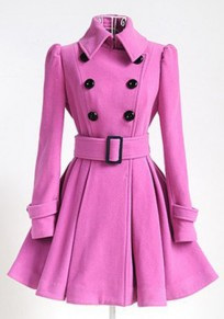 Pink Plain Belt Pleated Turndown Collar Double Breasted Peplum Wool Coat