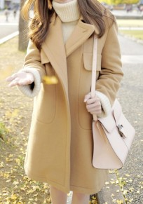 Khaki Plain Pockets Turndown Collar Fashion Wool Coat