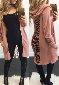 Pink Plain Irregular Back Hollow-out Long Sleeve Fashion Casual Hooded Coat