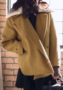 Yellow Plain Pockets Single Breasted Fur Collar Fashion Coat