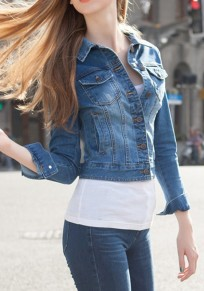 Blue Plain Single Breasted Pockets Peter Pan Collar Slim Casual Denim Coat