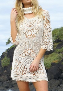 Beige Plain Hollow-out Lace Backless Round Neck Sexy Outerwear
