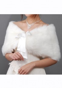 Beige Ribbons Casual Faux Wool Cape