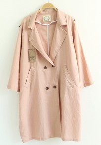 Pink Plain Pockets Double Breasted Trench Coats