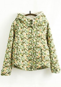 Army Green Floral Print Hooded Cute Padded Coat