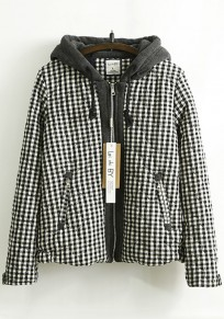 Black-White Big Plaid Hooded Vintage Padded Coat