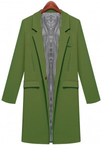 Green Plain Pockets Notch Lapel Blazer