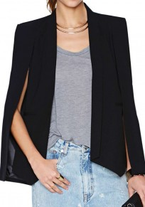 Black Plain Shawl Lapel Fashion Slim V-neck Blazer