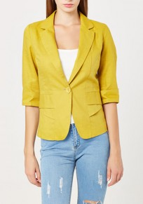 Yellow Plain Buttons Tailored Collar Elbow Sleeve Fashion Blazer