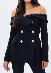 Black Plain Pockets Buttons Long Sleevel Fashion Blazer