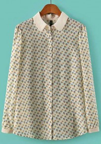 White House Print Long Sleeve Wrap Chiffon Blouse