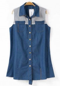 Denim Blue Patchwork Pockets Sleeveless Straight Denim Blouse