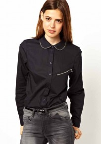 Black Plain Zipper Long Sleeve Cotton Blend Blouse