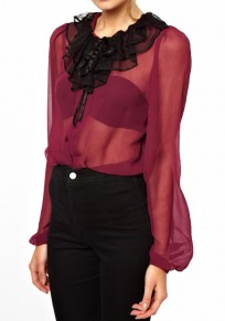 Wine Red Plain Buttons Long Sleeve Polyester Blouse