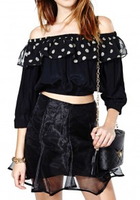 Black Polka Dot Falbala Long Sleeve Chiffon Blouse