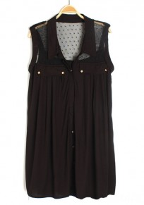 Black Patchwork Lace Buttons Sleeveless Chiffon Blouse