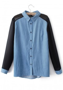 Blue Patchwork Black Chiffon Long Sleeve Denim Blouse