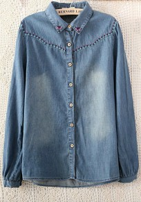 Blue Plain Turndown Collar Long Sleeve Denim Blouse