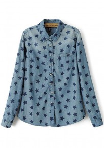 Blue Star Print Pockets Long Sleeve Blouse