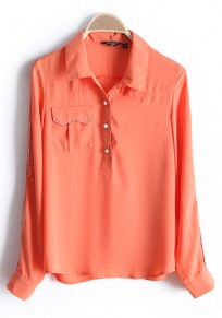 Orange Diamond Lapel Long Sleeve Chiffon Blouse