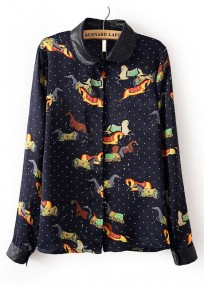 Navy Blue Animal Long Sleeve Cotton Blend Blouse