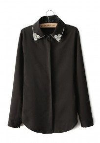 Black Plain Long Sleeve Diamond Wrap Chiffon Blouse