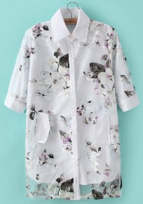 Purple Floral Print Short Sleeve Polyester Blouse