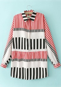 Multicolor Striped Print Long Sleeve Chiffon Blouse