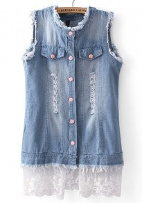 Light Blue Patchwork Pockets Sleeveless Denim Blouse