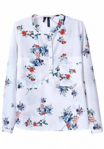 Multicolor Floral Print Pockets Long Sleeve Blouse