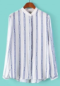 White Striped Print Buttons Long Sleeve Blouse