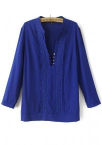 Blue Plain Embroidery Buttons Chiffon Blouse