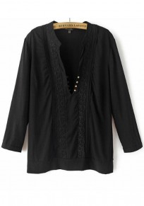 Black Plain Embroidery Buttons Chiffon Blouse
