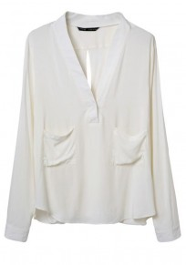 White Plain Pockets Hollow-out Blouse