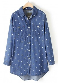 Blue Star Print Pockets Blouse