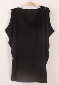 Black Stereo Corsage Irregular V-neck Sleeveless Chiffon Blouse